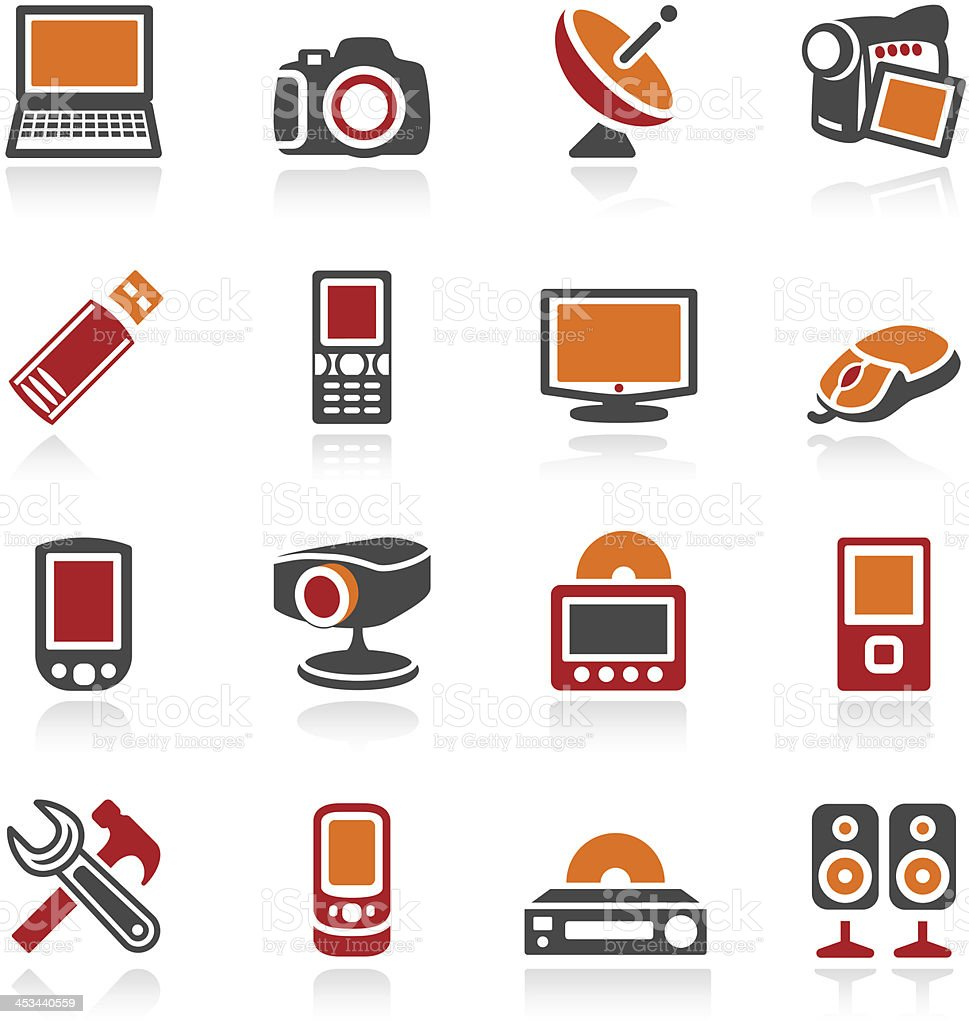 Electronics icons. Color series. vector art illustration