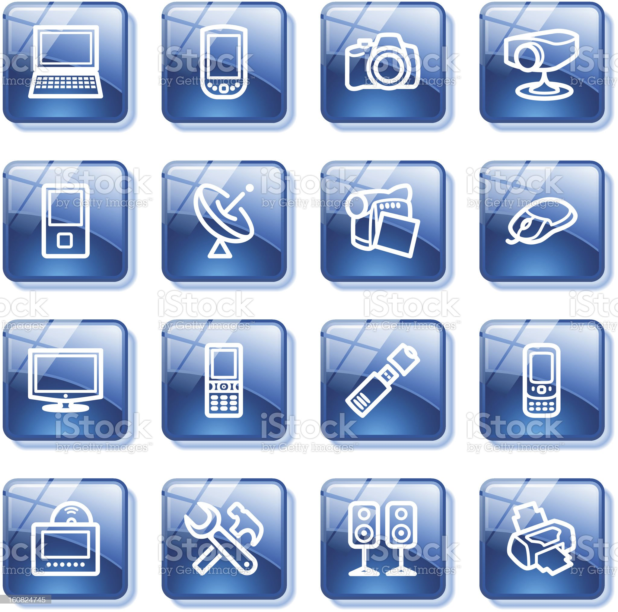 Electronics icons for web. Blue glass buttons series. royalty-free stock photo