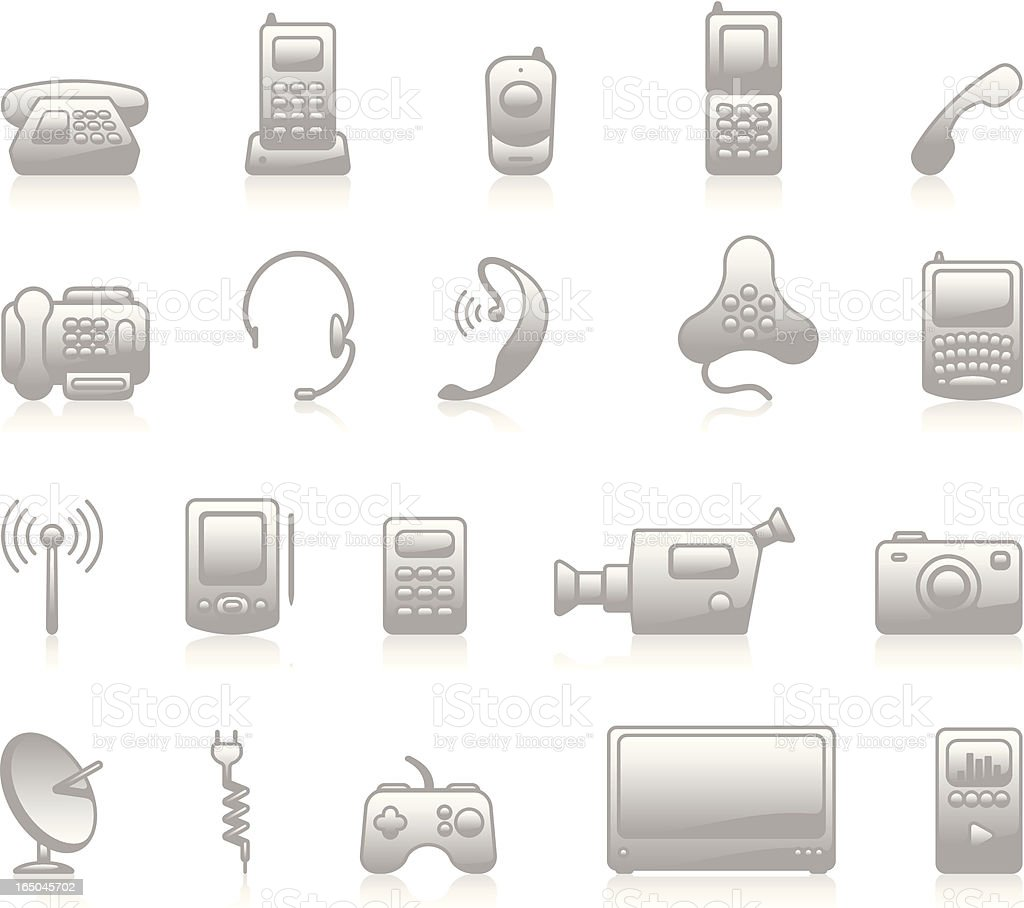 Electronics Icons - Grey royalty-free stock vector art