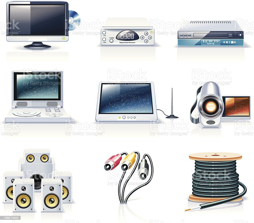 Electronics icons. TV and video royalty-free stock vector art