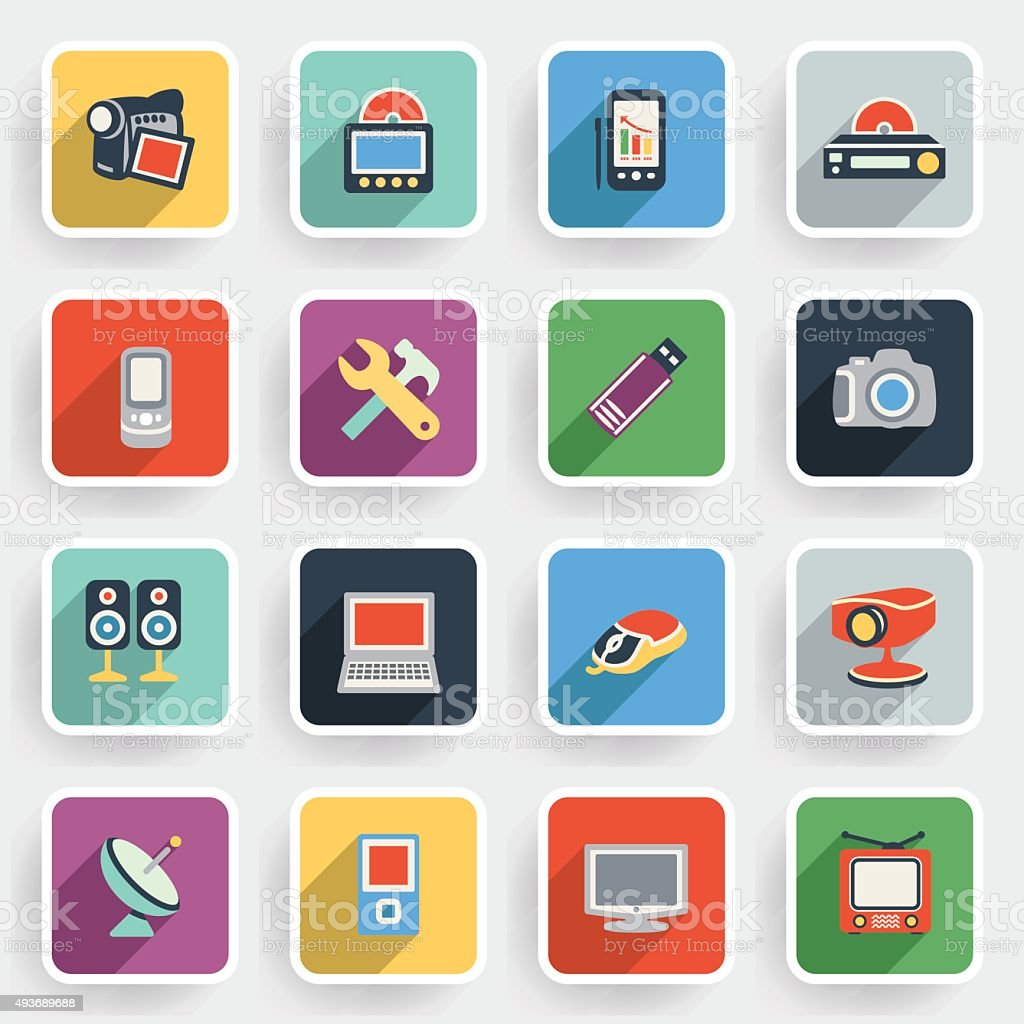 Electronics modern flat icons with color buttons on gray background. vector art illustration