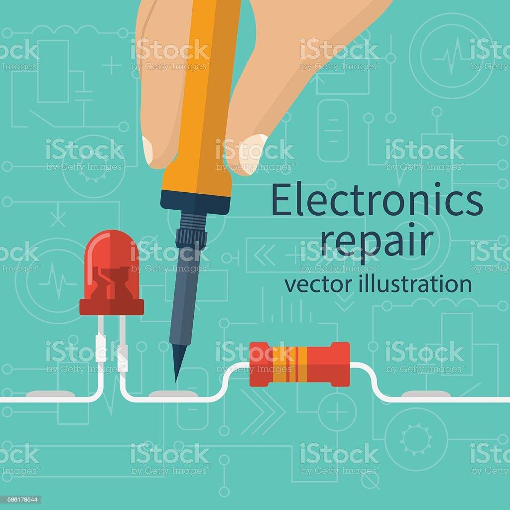 Electronics repair concept vector art illustration