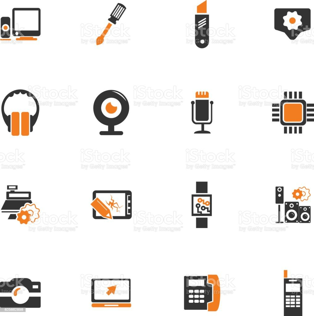 Electronics repair icons set vector art illustration