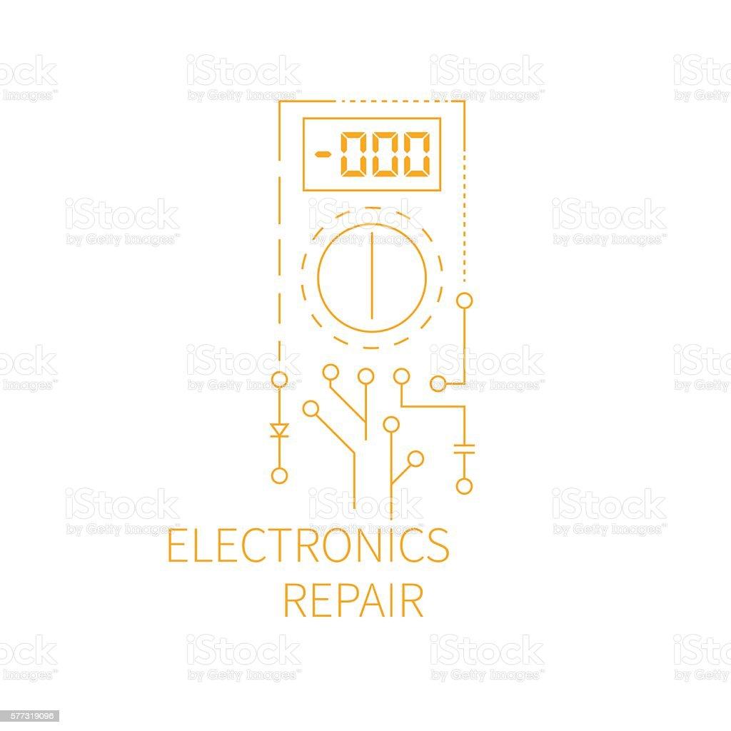 Electronics repair logo. vector art illustration