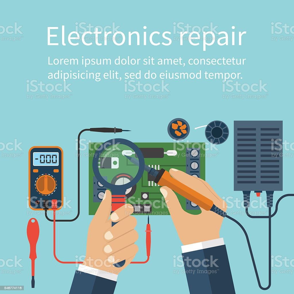 Electronics repair. Tech repairs. vector art illustration