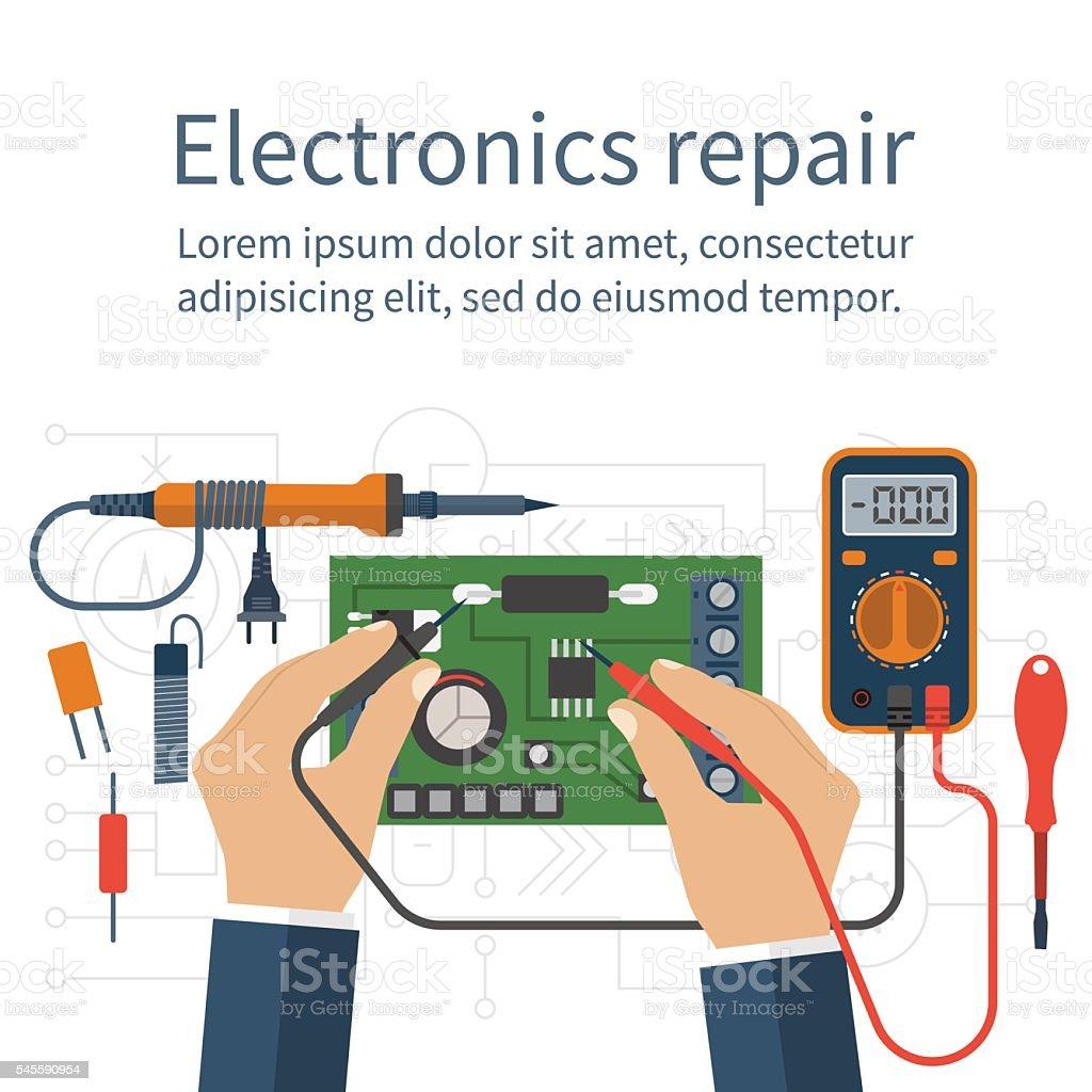 Electronics repair. Tester checking vector art illustration
