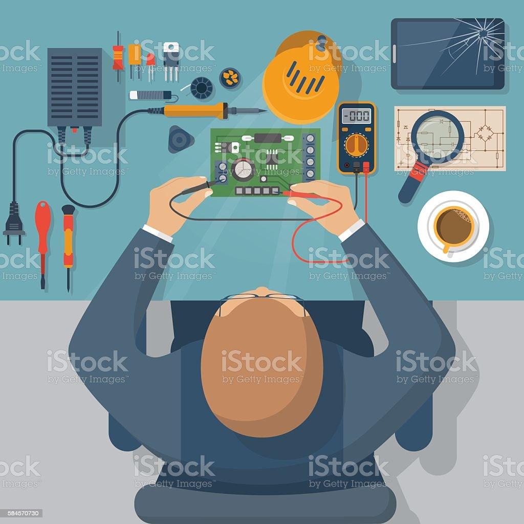 Electronics repair vector vector art illustration