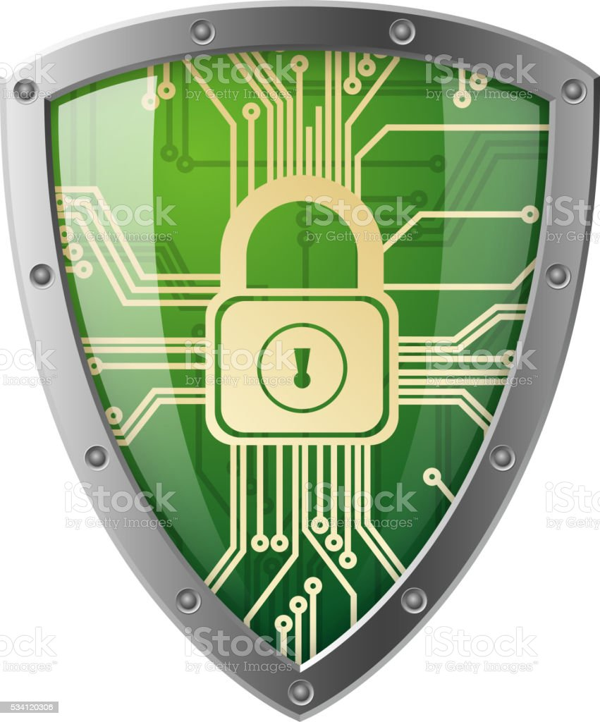 Electronics shield vector art illustration