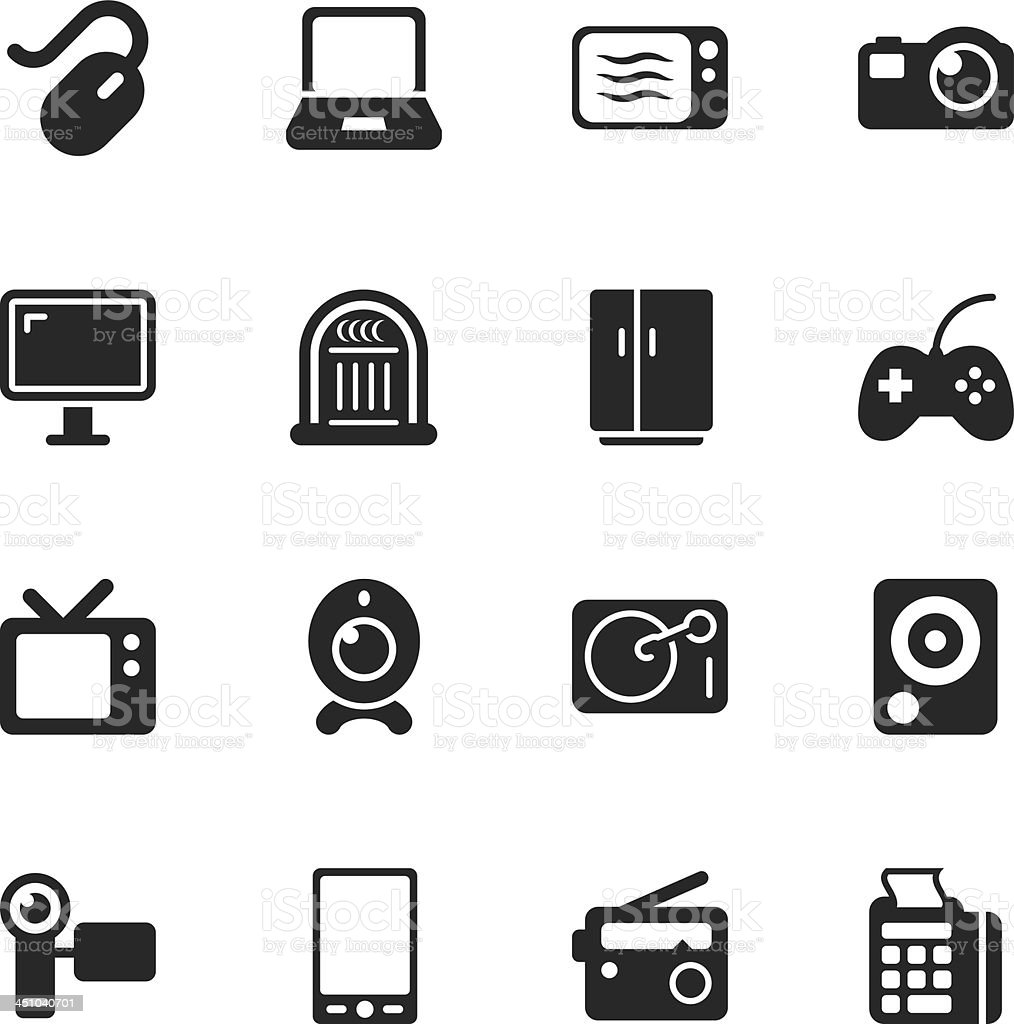 Electronics Silhouette Icons vector art illustration
