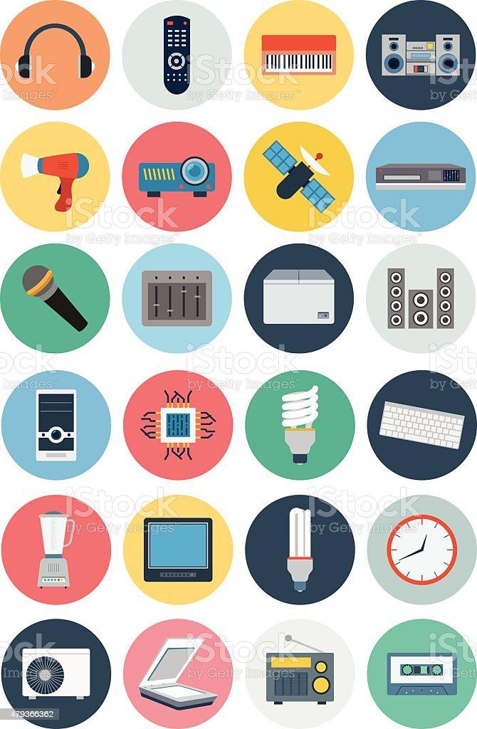 Electronics Vector Flat Icons 3 vector art illustration