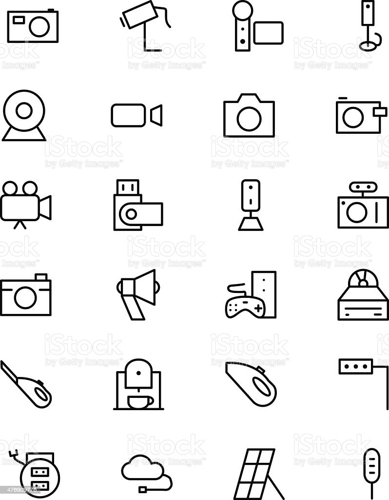 Electronics Vector Line Icons 5 vector art illustration