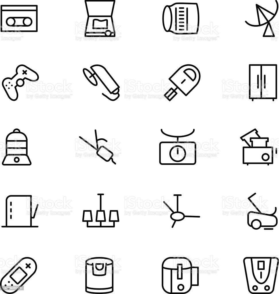 Electronics Vector Line Icons 7 vector art illustration
