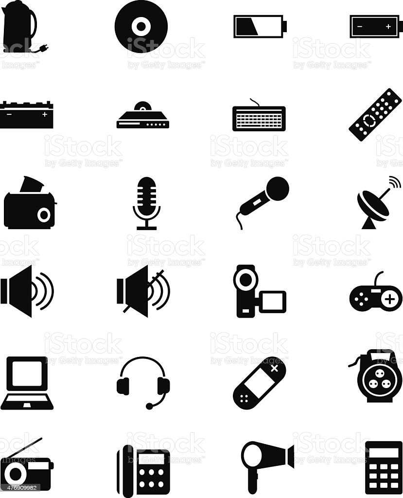 Electronics Vector Solid Icons 3 vector art illustration