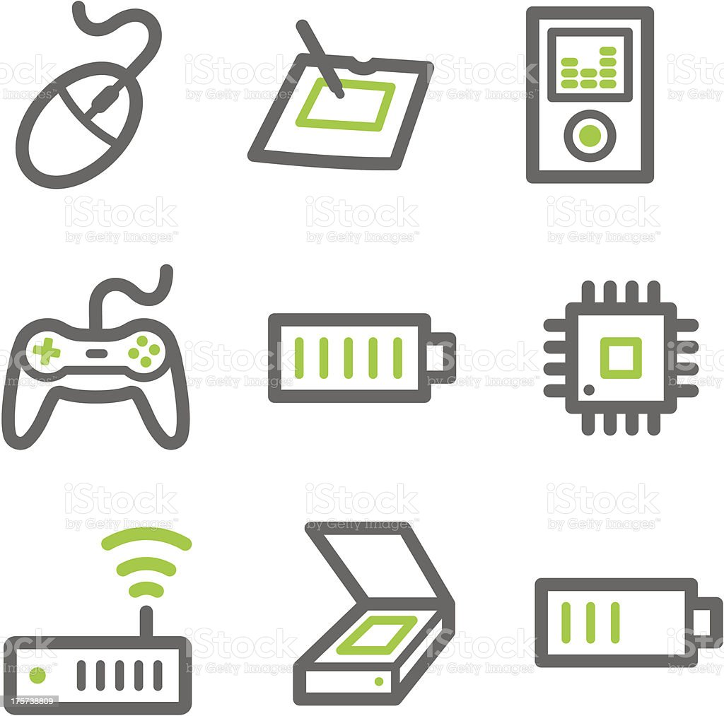 Electronics web icons, green and gray contour series set 2 royalty-free stock vector art