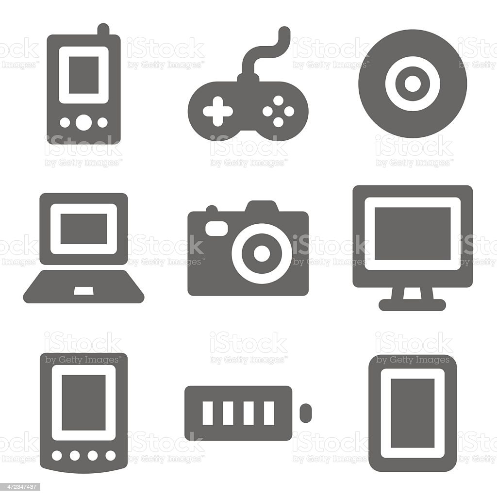 Electronics web icons, grey solid series royalty-free stock vector art