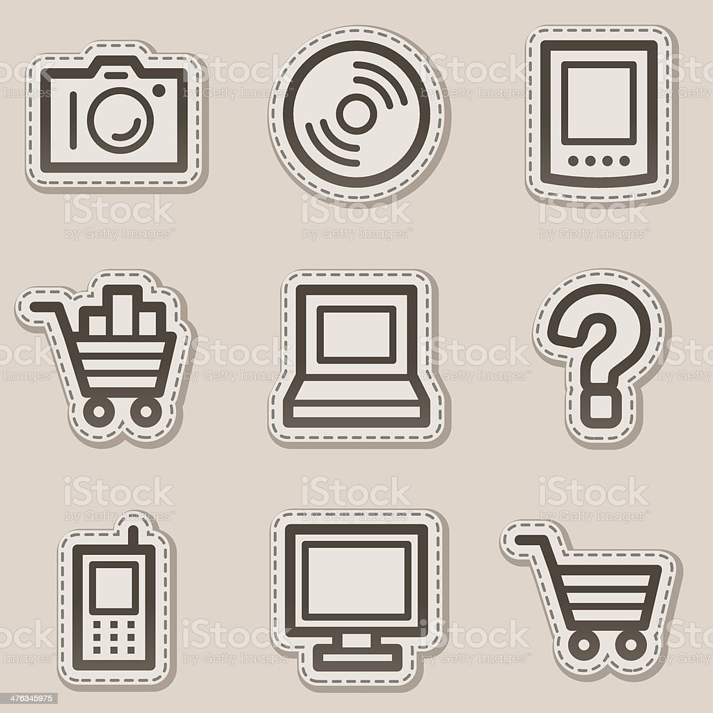 Electronics web icons set 1, brown contour sticker series royalty-free stock vector art
