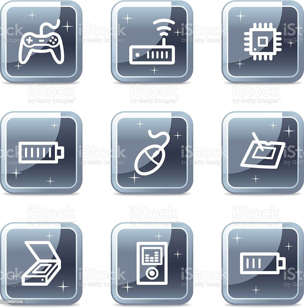 Electronics web icons, square blue mineral buttons series set 2 royalty-free stock vector art