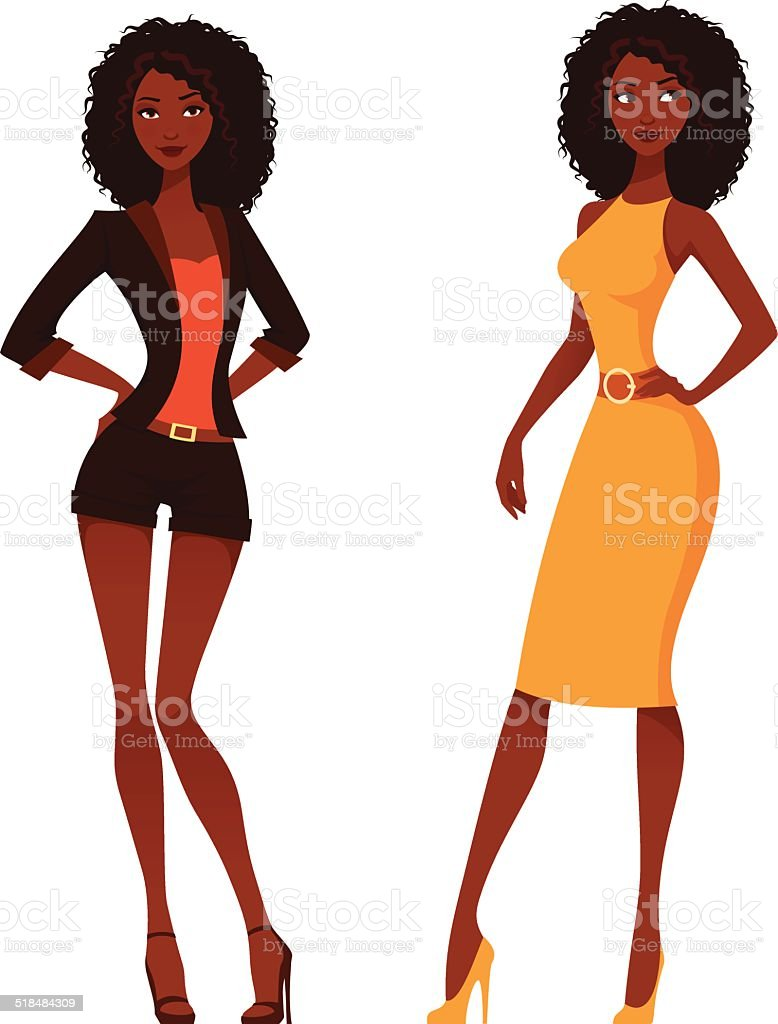 Elegant African American women with natural curly hair vector art illustration
