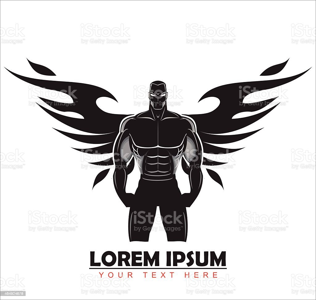 Elegant artistic bodybuilder silhouette. vector art illustration
