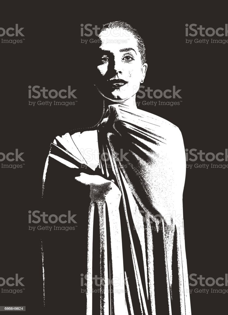 Elegant, artistic woman wrapped in lycra stretch fabric vector art illustration
