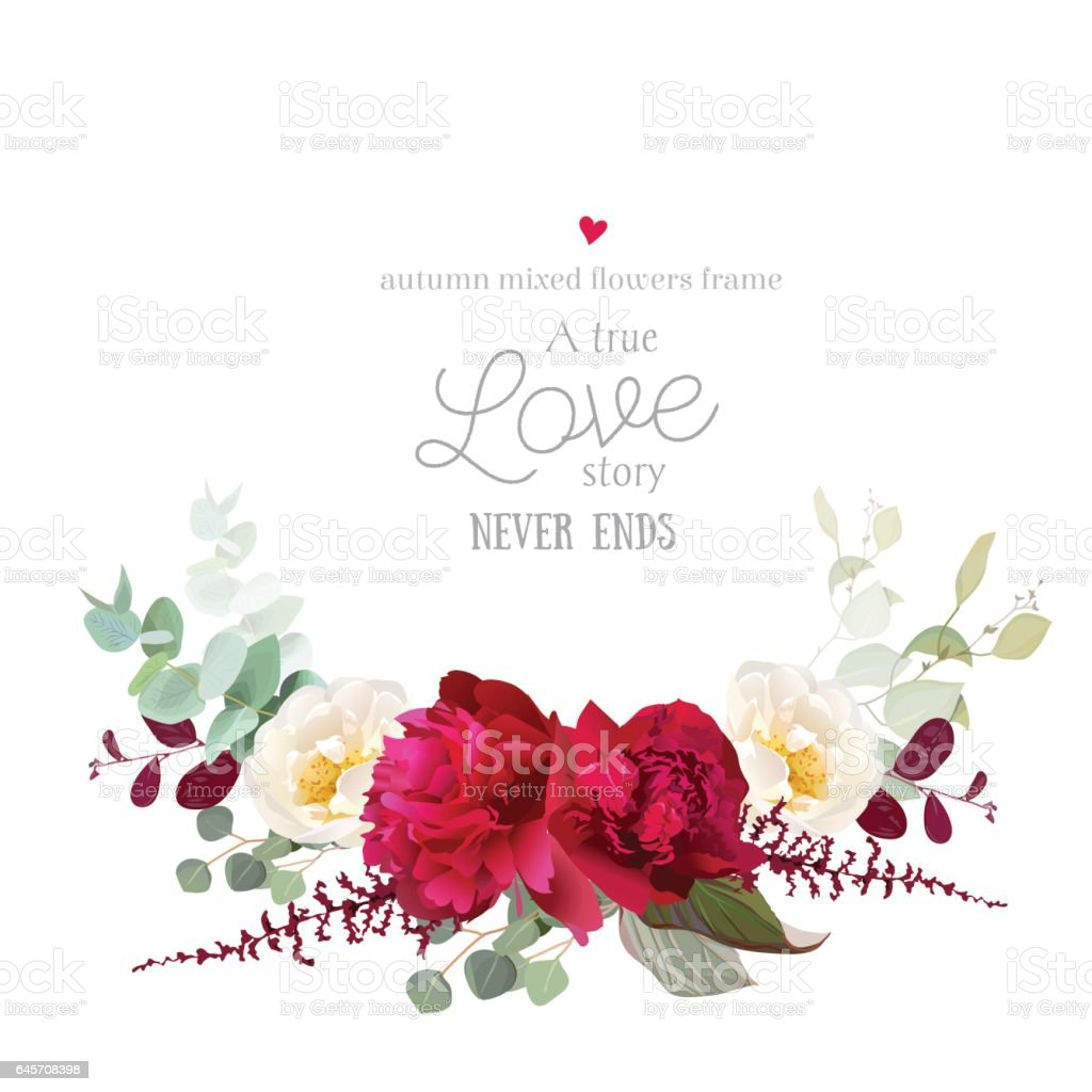 Elegant autumn horizontal floral bouquet vector design card vector art illustration