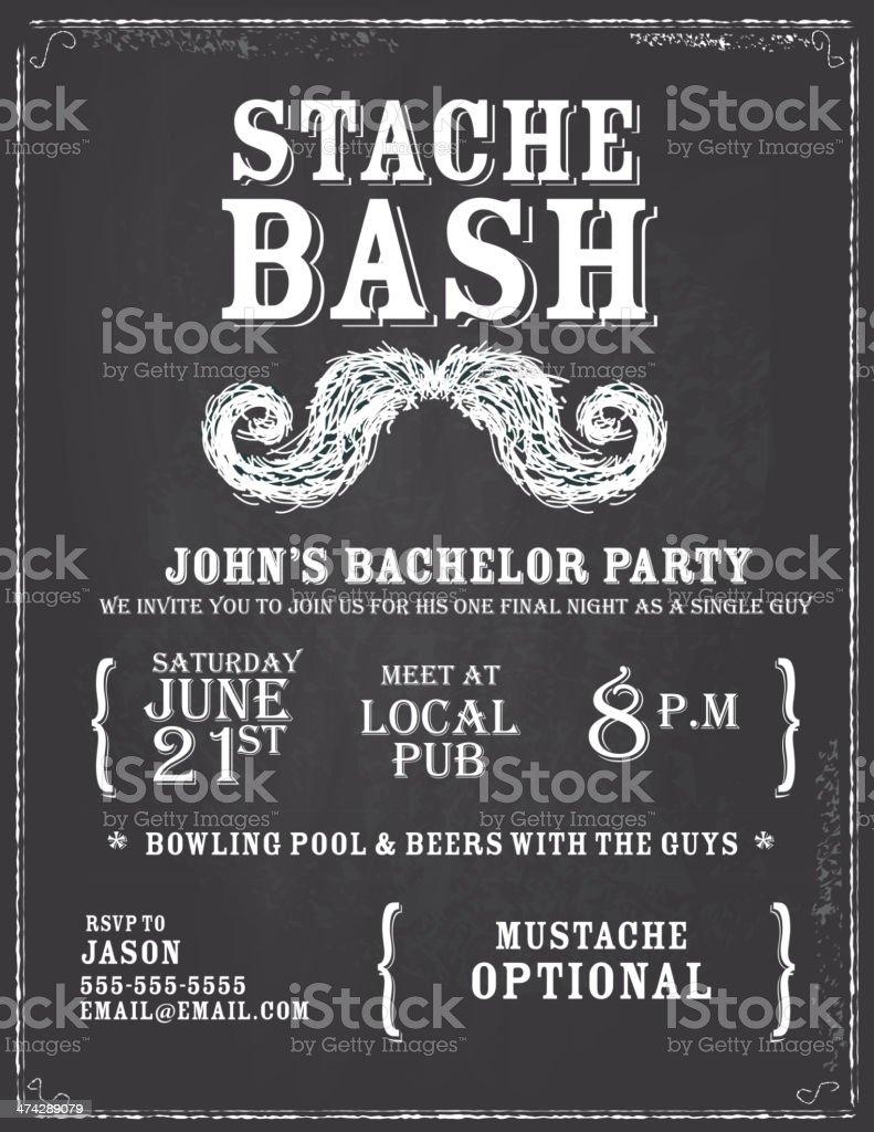 Elegant bachelor party chalkboard invitation design template vector art illustration
