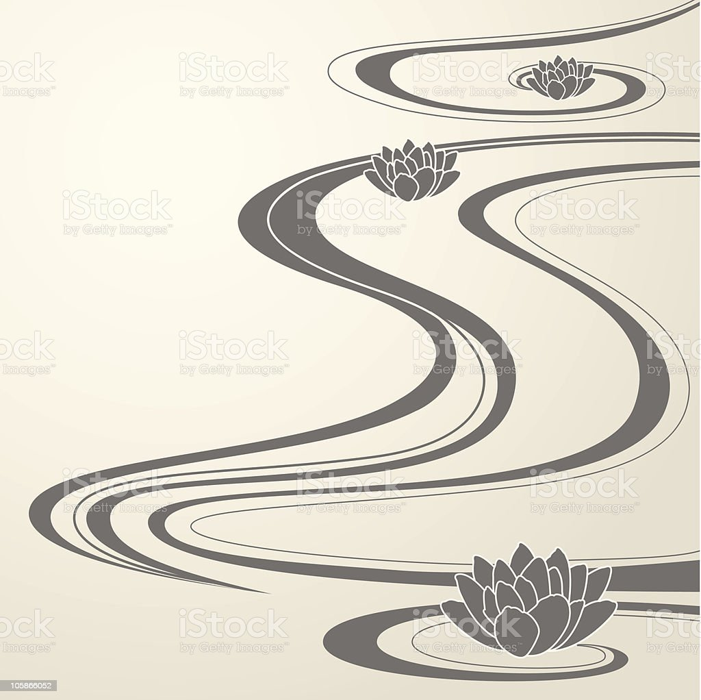 Elegant background with abstract water waves and lotuses royalty-free stock vector art
