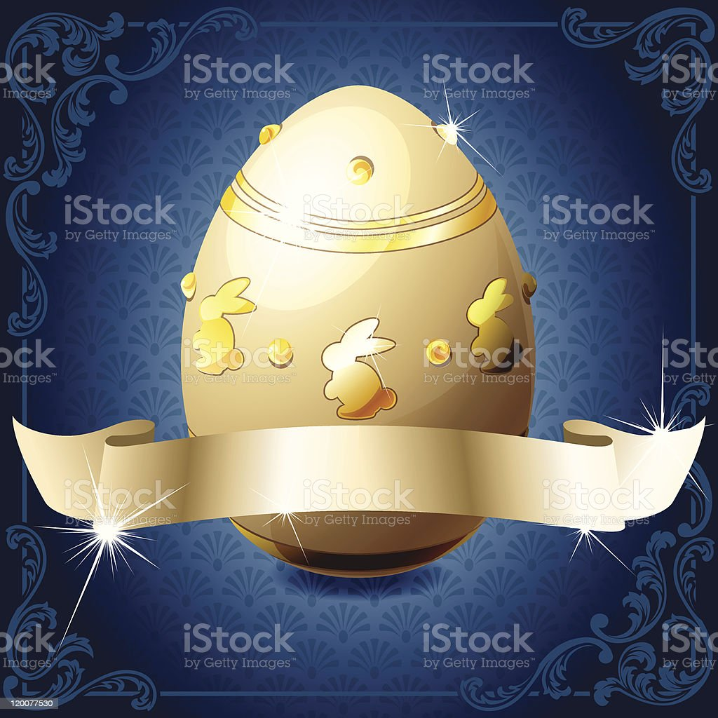 Elegant banner with chocolate egg in white and blue royalty-free stock vector art