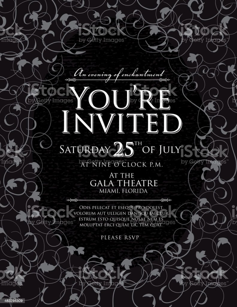 Elegant black and white invitation design template royalty-free stock vector art