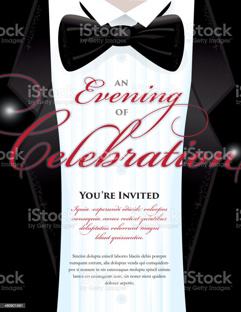 Elegant Black Tie Event invitation template with tuxedo design vector art illustration