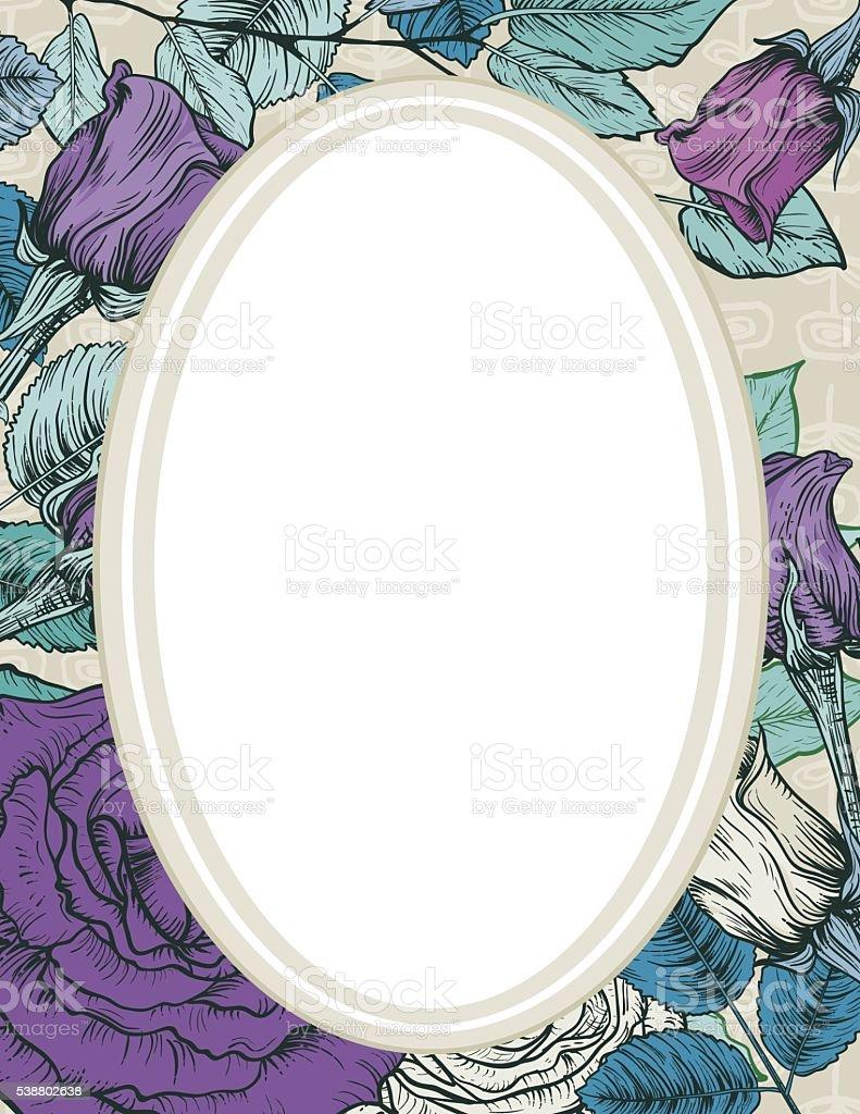 Elegant Botanical Floral Background With Frame and Copy Space vector art illustration