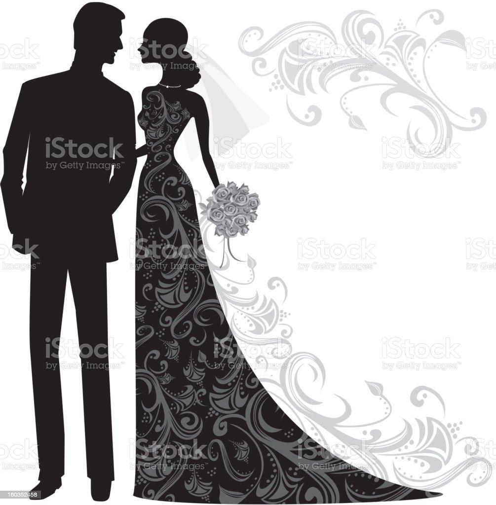 Elegant Bride and Groom Silhouette Just Married royalty-free stock vector art