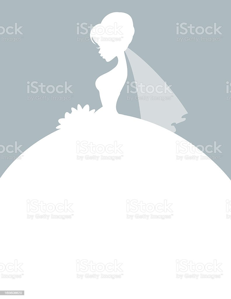 Elegant Bride Silhouette vector art illustration