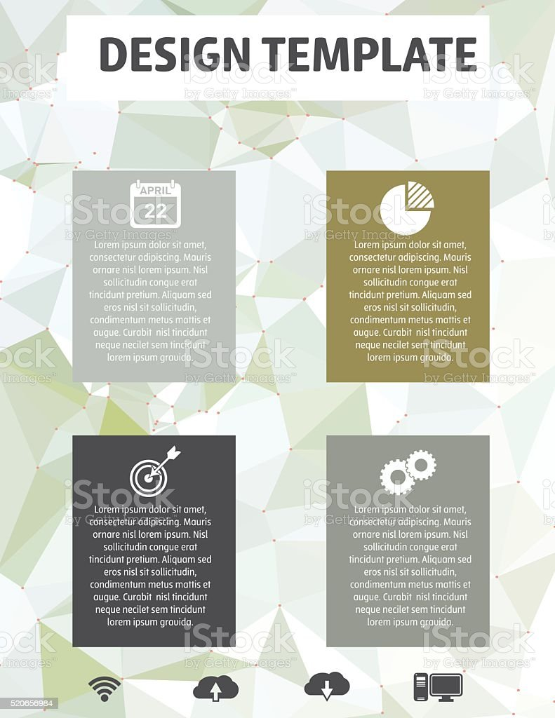 Elegant Business Report Template On A Polygon Background vector art illustration