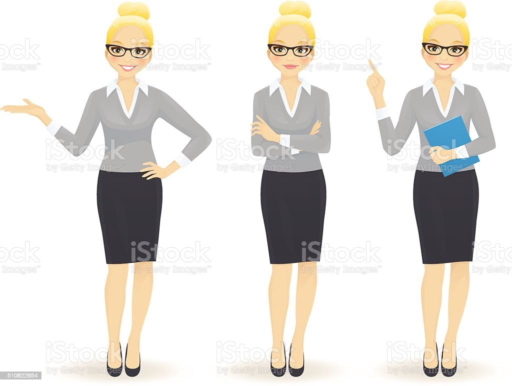 Elegant business woman in different poses vector art illustration
