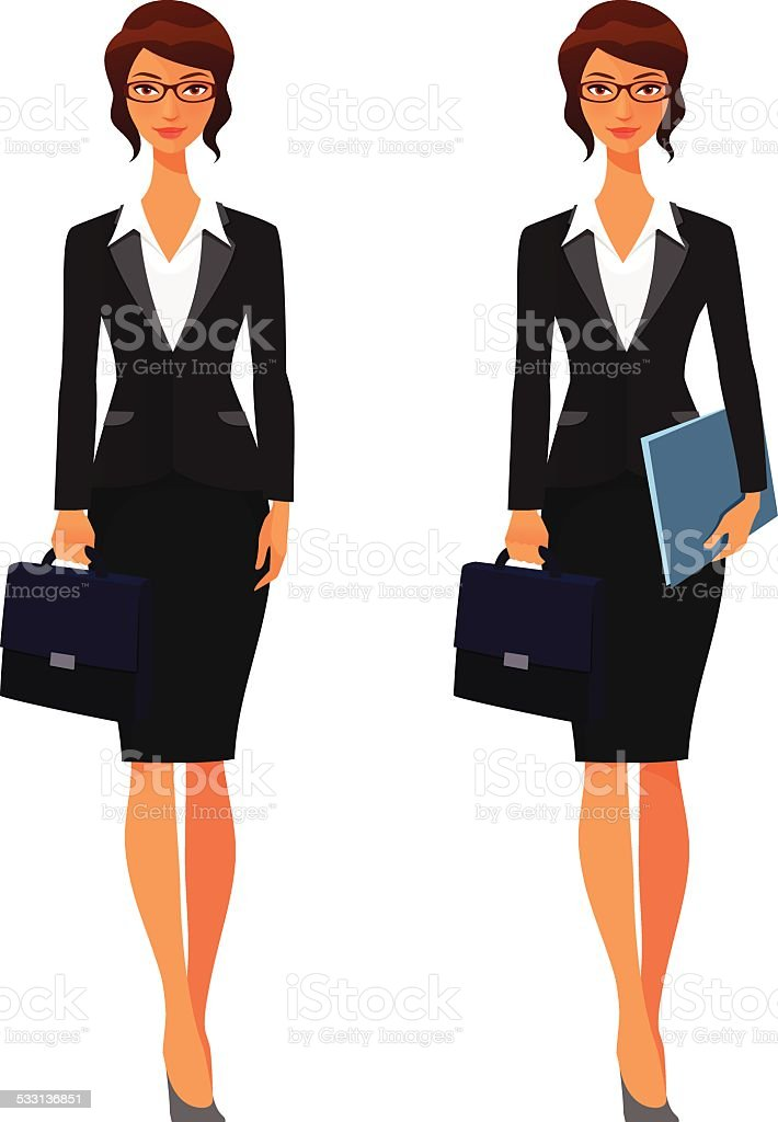 elegant business woman with briefcase and folders vector art illustration