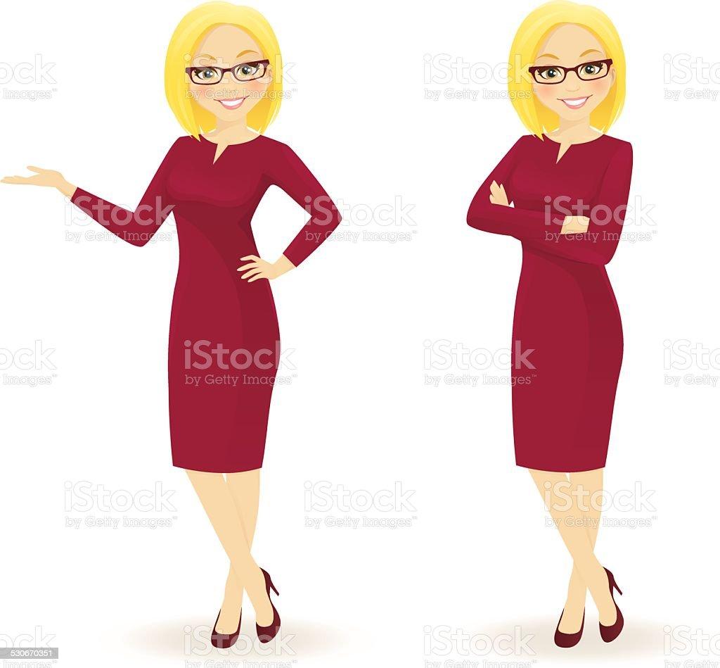 Elegant businesswoman in different poses vector art illustration