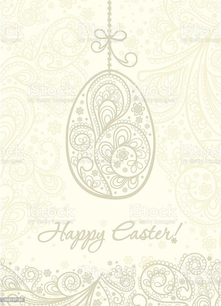 Elegant card with easter egg. royalty-free stock vector art