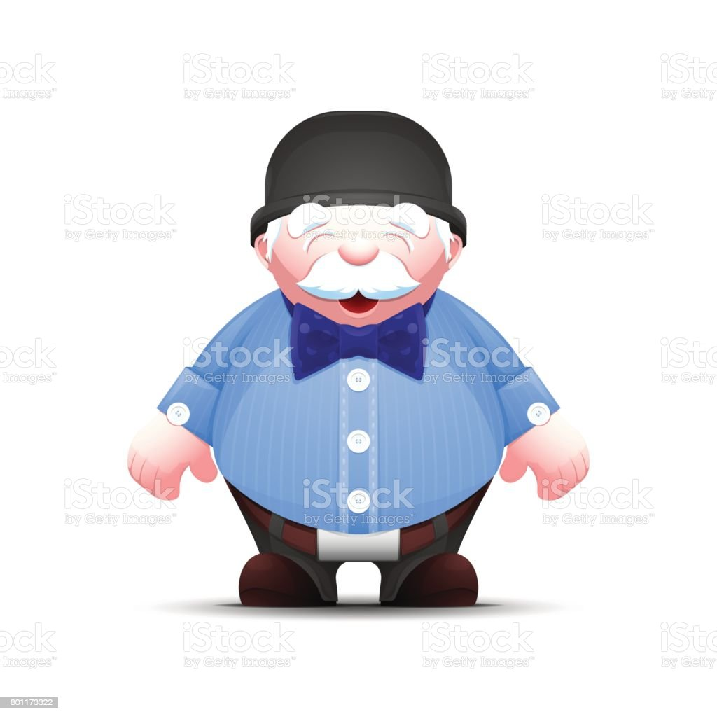 Elegant cartoon old man in bowler hat and bow tie vector art illustration