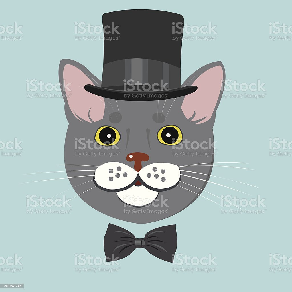 elegant cat in top hat and bow tie royalty-free stock vector art