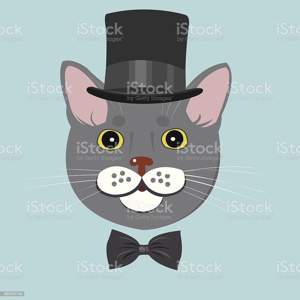 elegant cat in top hat and bow tie vector art illustration
