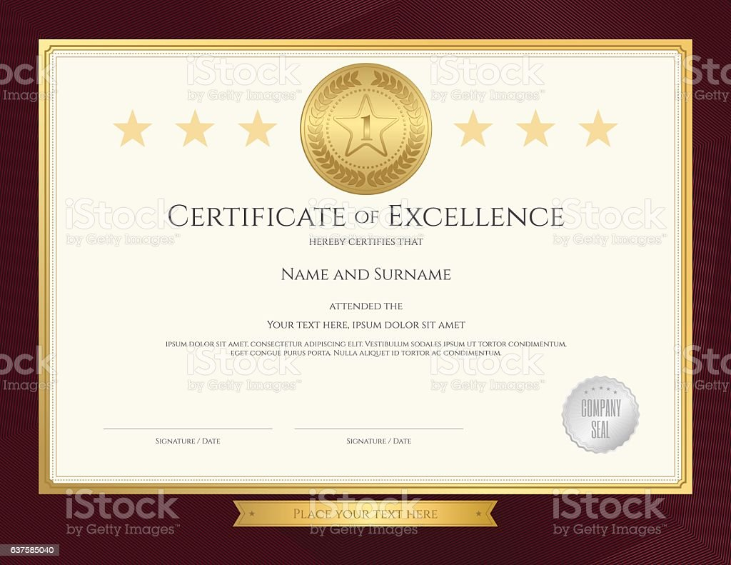 Elegant Certificate Template For Excellence Achievement On ...