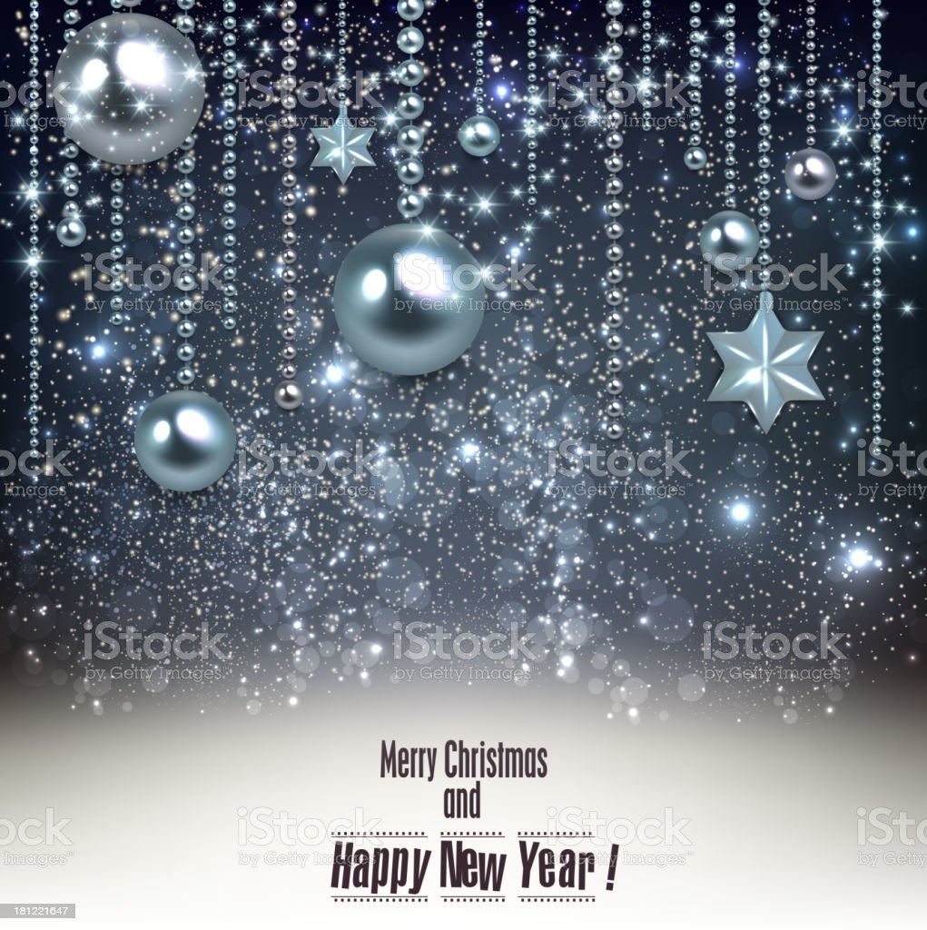 Elegant christmas background with blue baubles and stars. royalty-free stock vector art