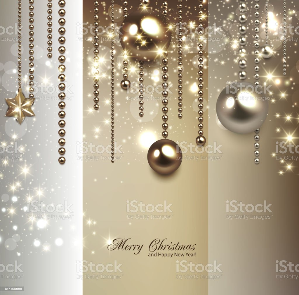 Elegant christmas background with golden baubles and stars. royalty-free stock vector art
