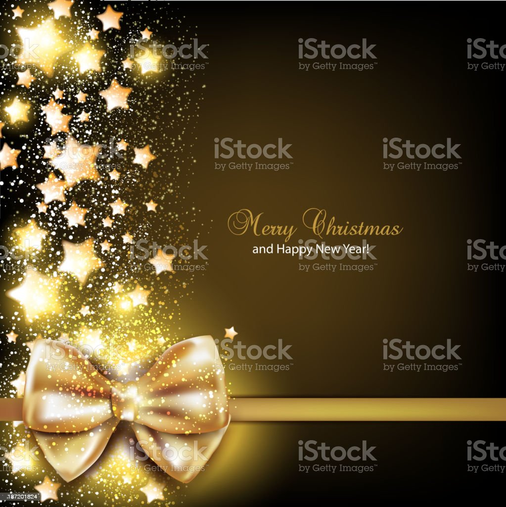 Elegant Christmas background with golden bow. royalty-free stock vector art