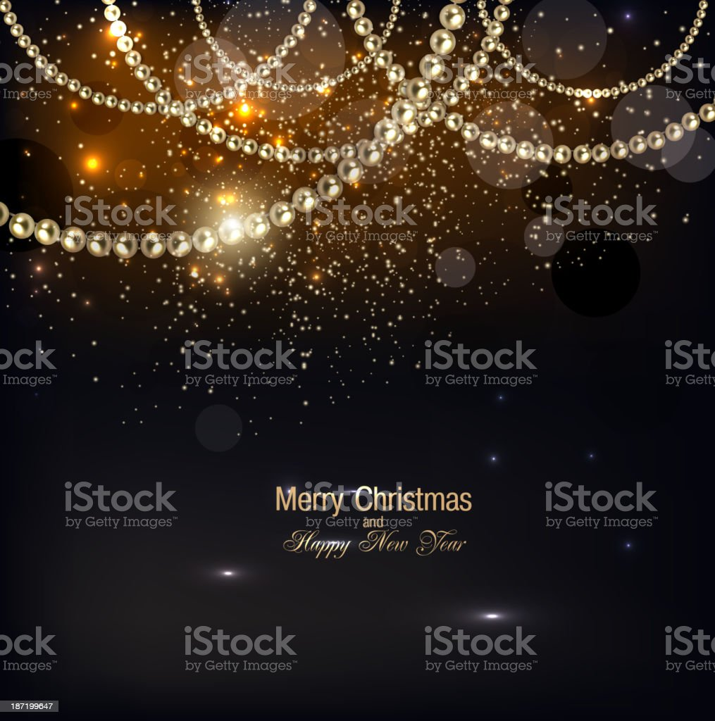 Elegant Christmas background with golden garland. royalty-free stock vector art