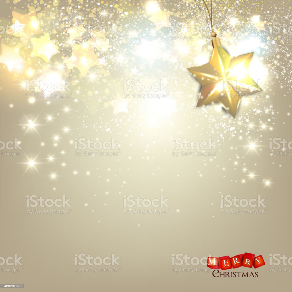 Elegant Christmas background with golden stars royalty-free stock vector art
