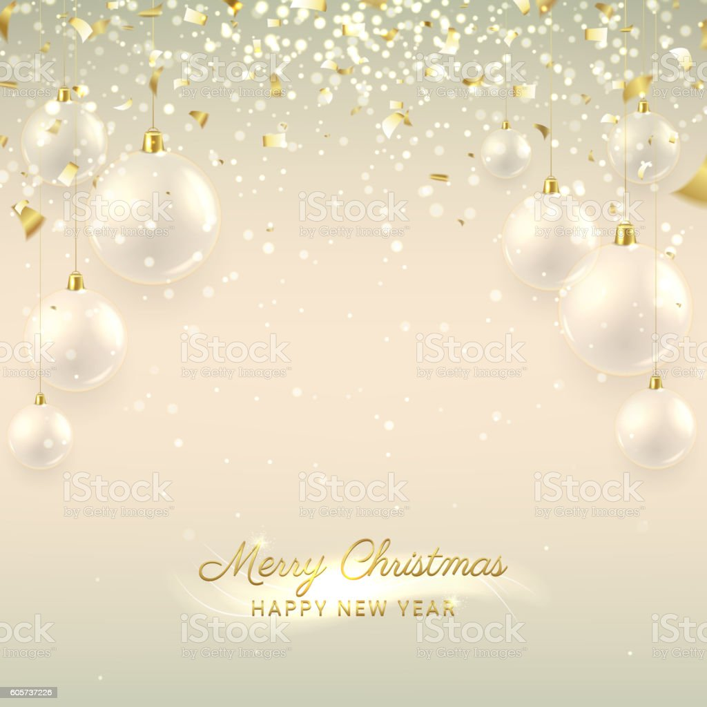 Elegant Christmas banner with glass balls royalty-free stock vector art