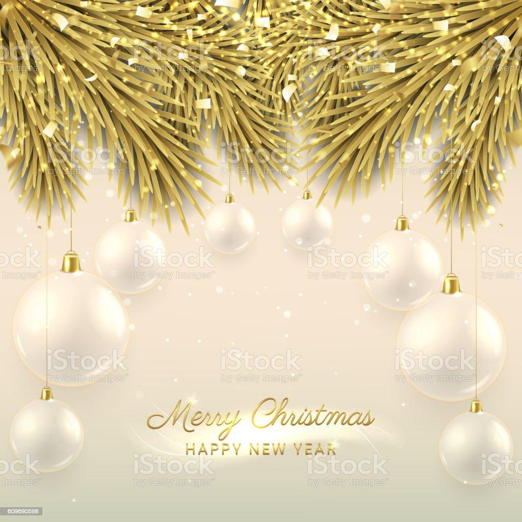 Elegant Christmas illustration with glass balls royalty-free stock vector art