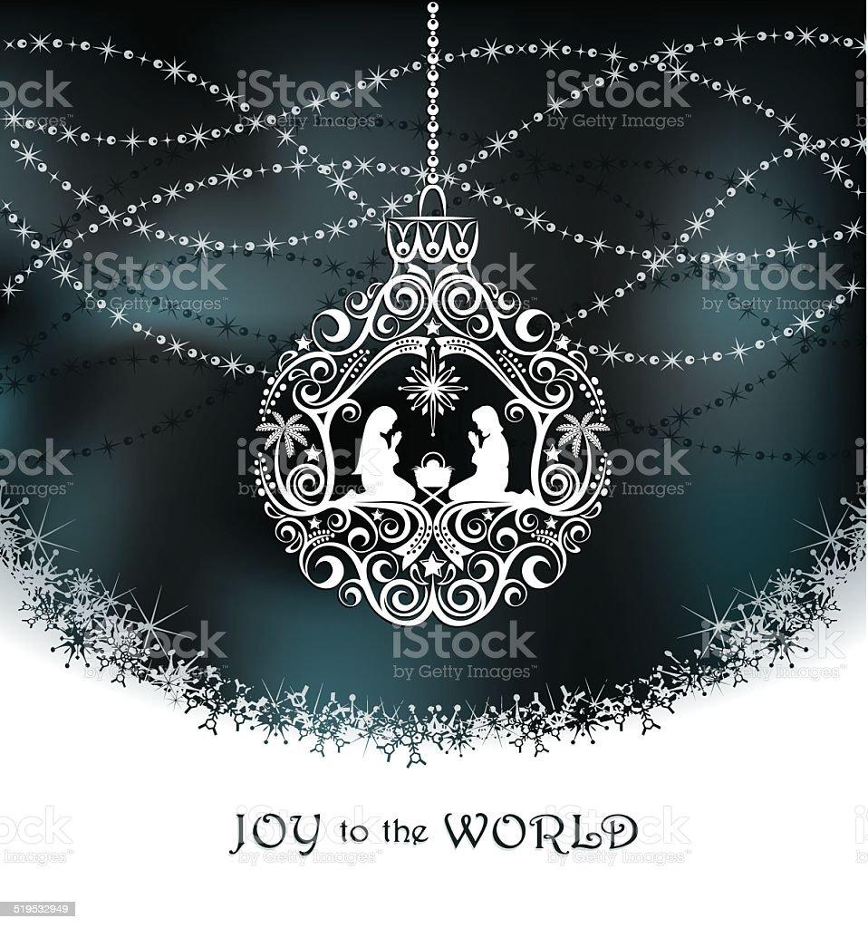 Elegant Christmas Nativity Ornament vector art illustration